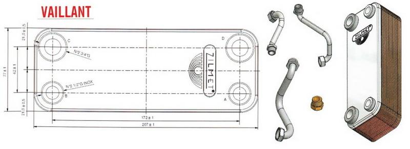 Теплообменник Vaillant T3, T4